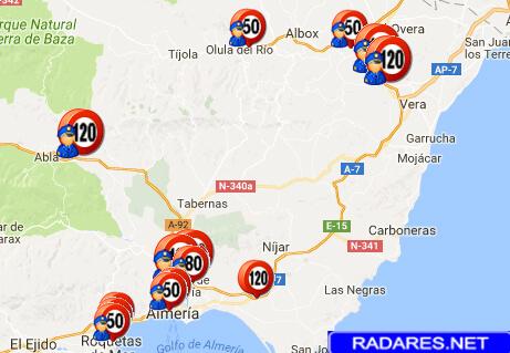 Listado y mapa de radares en Almería