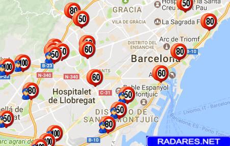 Listado y mapa de radares en Barcelona
