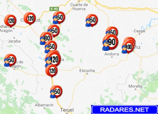 mapa radares moviles aragon