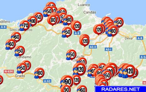 Listado y mapa de radares en Asturias