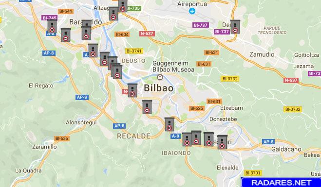 Listado y mapa de radares en Bizkaia