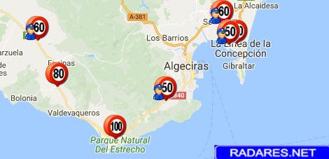 Mapa de radares en Cádiz