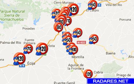mapa de radares Mapa de radares fijos, móviles, semáforo y de tramo en Córdoba  mapa de radares